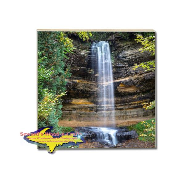 Drink Coaster Lower Munising Waterfalls Pictured Rocks Michigan Online Gift Store