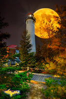 Michigan Lighthouse Photos Crisp Point Lighthouse Full Moon Rising Composite