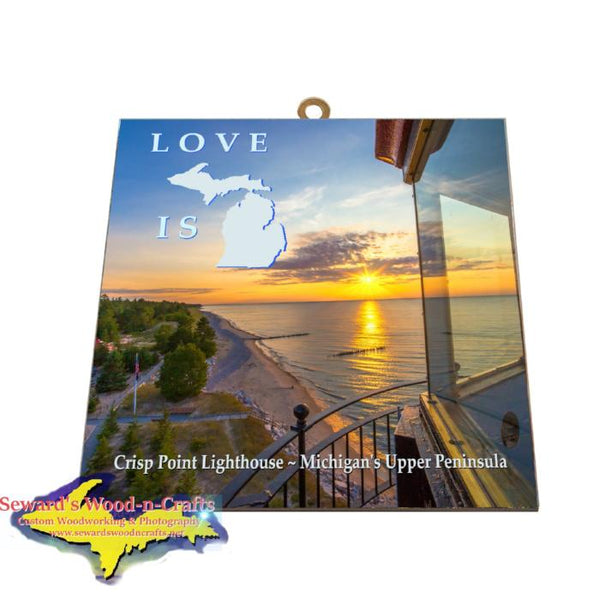 Crisp Point Lighthouse Sunset Photo Tile Meme Yooper Gifts