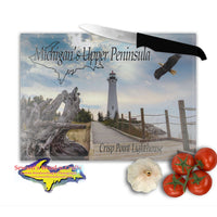 Michigan Upper Peninsula Cutting Boards Crisp Point Lighthouse Cutting Board Yooper Gifts