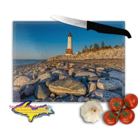 Michigan Made Glass Cutting Boards Crisp Point Lighthouse & Lake Superior Rocks Michigan Photo Gifts