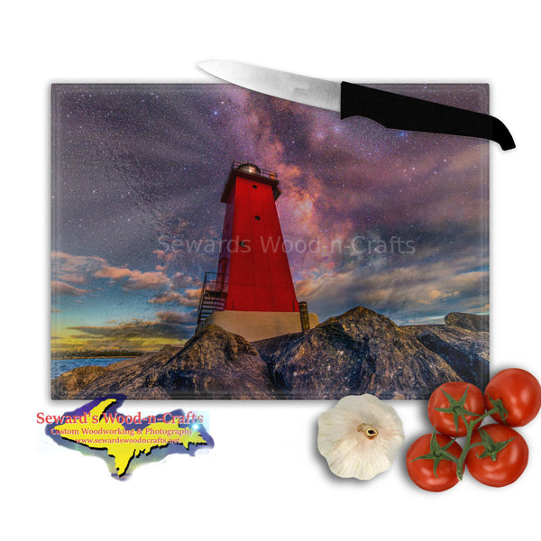 Michigan Made Glass Cutting Boards Milky Way Over Manistique Lighthouse Yooper Gifts