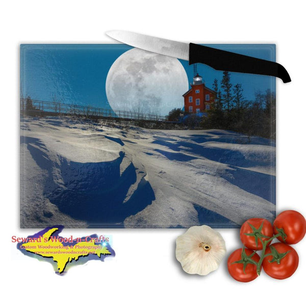 Michigan Made Glass Cutting Boards Super Snow Moon Marquette Lighthouse Yooper Gifts