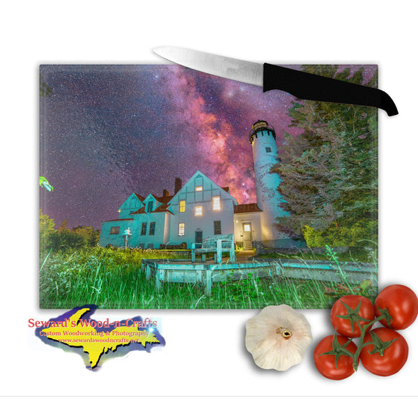 Michigan Made Glass Cutting Board Milky Way Over Point Iroquois Lighthouse Yooper Gifts
