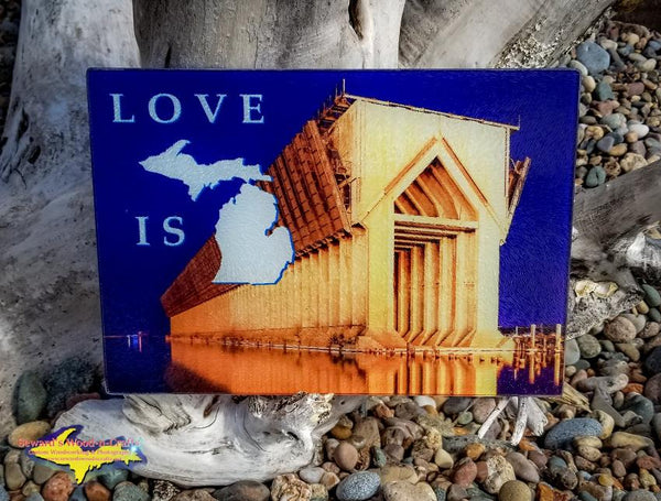 Love Is Marquette Michigan Made Glass Cutting Boards Yooper Gifts
