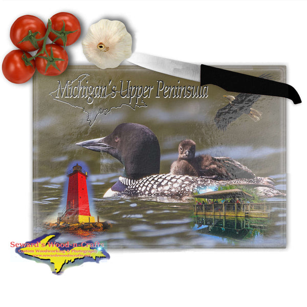 Michigan's Upper Peninsula Black Loon Cutting Board Yooper Gifts
