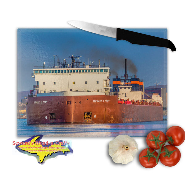 Great Lakes Freighter Gifts Glass Cutting Boards Ship Stewart J. Cort Great gifts for boat nerds and boat fans