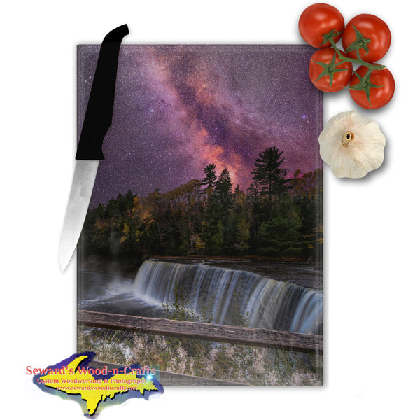 Michigan Made Glass Cutting Boards Milky Way Over Upper Tahquamenon Falls Yooper Gifts
