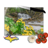 Michigan's Upper Peninsula Glass Cutting Board Wagner Falls & Marsh Marigold Springtime in Munising