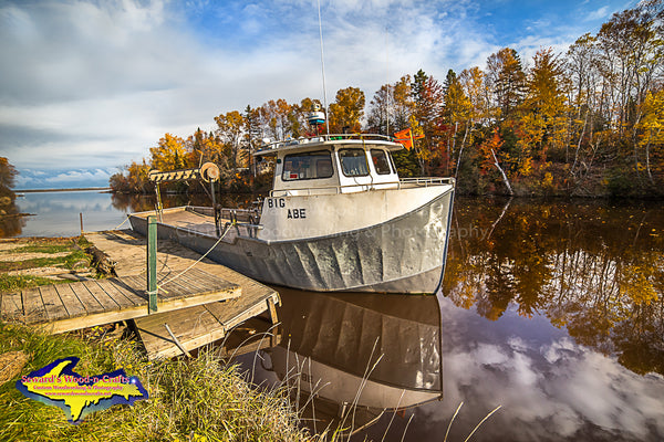 Michigan Photography Fishing Boat Big Abe Autumn Colors at Brimley, Michigan
