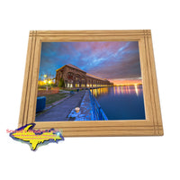 Handmade wood frame with a Michigan photo of Sault Ste. Marie