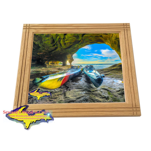 Kayaking Michigan Pictured Rocks Cave Framed Photo Extreme Sports Decor
