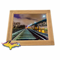 Train Tracks International Bridge Sault Ste. Marie Michigan Framed Photo Home Interior Gifts