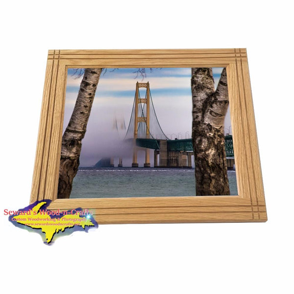 Mackinac Bridge Foggy Spring Morning Framed Photo Michigan Home Decor