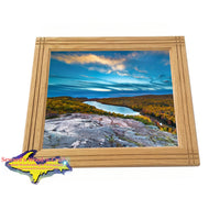 Oak Framed Photo Michigan's Upper Peninsula Lake Of The Clouds Home Interior Wall Art