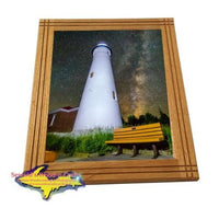 Lighthouse Crisp Point Milky Way Michigan's Upper Peninsula Framed Photo Image