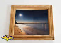 Moon Venus Jupiter Reflections On Whitefish Bay Paradise Michigan Framed Photo