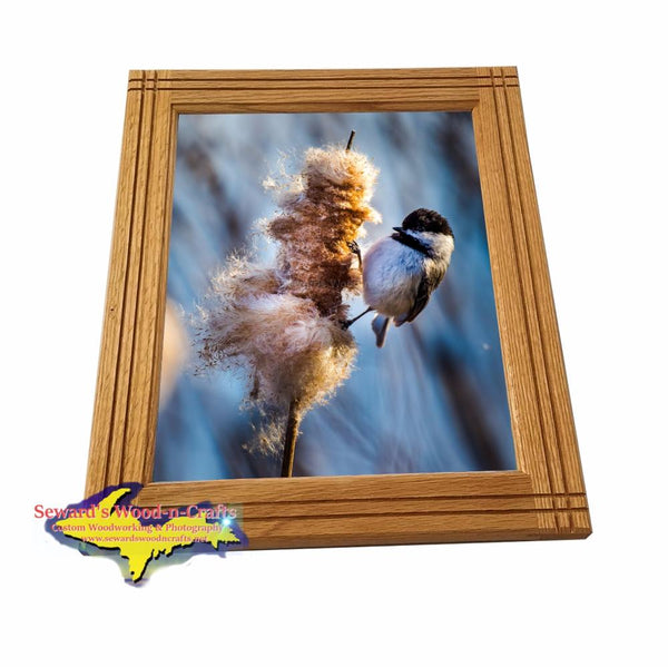 Chickadee Framed Metal Wildlife Photo For Home Interior Decor