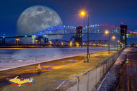 Full Moon Over The Soo Locks Composite Art Sault Ste. Marie, Michigan Photography For Sale