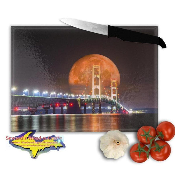 Michigan Made Glass Cutting Boards Mackinac Bridge Full Blood Wolf Moon Digital Art