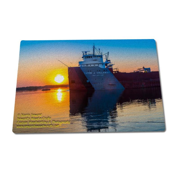 Great Lakes Freighter Photos Tempered Glass Cutting Board Cason J Callaway Gifts For Great Lakes Fleet