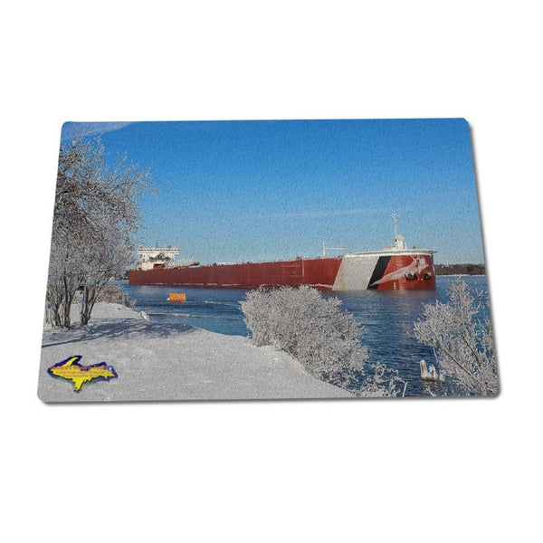 Glass Cutting Boards Ship Edwin Gott Great Lakes Freighters Home Kitchen Ware For Boat Nerds
