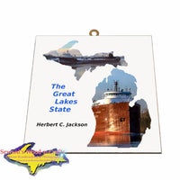 Herbert Jackson Photo Tile Michigan Theme Gifts for boatnerd fans