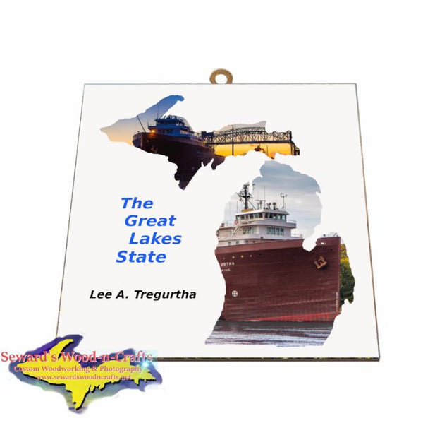 Lee Tregurtha Photo Tile Michigan Theme Gifts for boatnerd fans