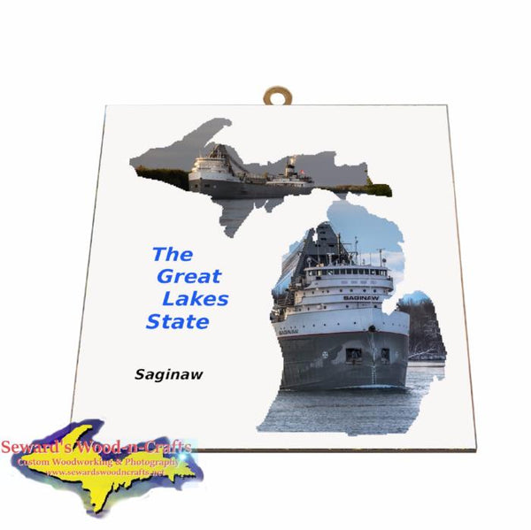 Saginaw Photo Tile Michigan Theme Gifts for boatnerd fans
