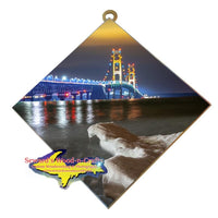 Michigan Made Wall Art  Mackinac Bridge Winter Ice