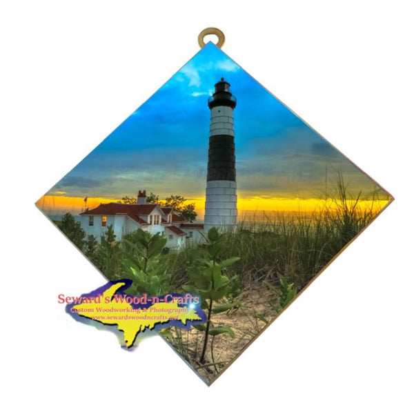 Sunset At Big Sable Point Lighthouse Ludington, Michigan Made Wall Art For Sale