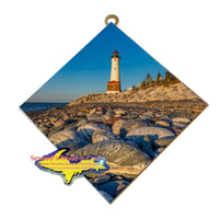 Michigan Made Wall Art Crisp Point Lighthouse And Lake Superior Rocks Yooper Gifts