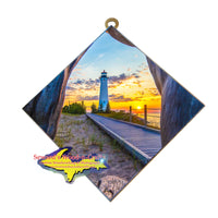 Hanging Tile ~ Lighthouse Crisp Point-2541 Michigan Yooper Art