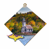 Pictured Rocks Grand Island Old Wooden Lighthouse Autumn Colors Wall Art