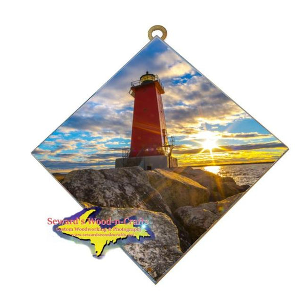 Manistique Lighthouse tile wall art makes a great Yooper Gift