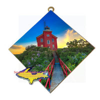 Michigan Made Marquette Lighthouse Sunset Hanging Tile Artwork