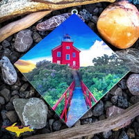 Marquette Lighthouse Sunset Hanging Tile Michigan Made Artwork