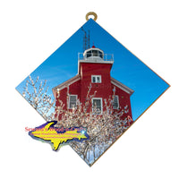 Hanging Tile Lighthouse Marquette Winter Ice -8910
