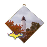 Point Iroquois Lighthouse Photo Tile Unique and affordable Yooper gifts