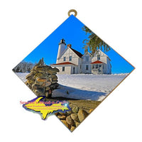 Lighthouse Point Iroquois Winter Michigan Made Upper Peninsula Gifts