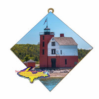 Hanging Tile Lighthouse Round Island -2551 Mackinac Island Unique Gifts