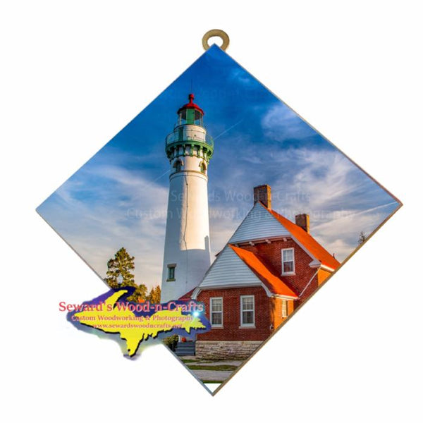 Point Seul Choix Lighthouse Gulliver, Michigan photo tiles are unique Yooper Gifts
