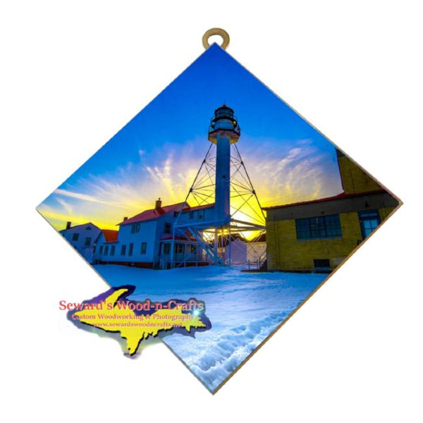 Lighthouse Whitefish Point Sunset Michigan Made Art Upper Peninsula Gifts