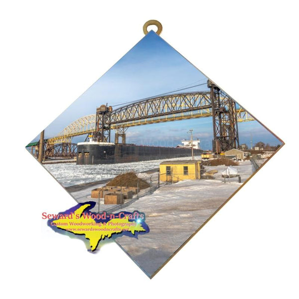 Great Lakes Freighter Wall Art American Integrity Soo Locks Photo Tile