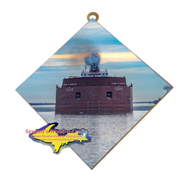 Great Lakes Freighter Wall Art James R Barker Photo Tile Gifts For Boat Nerds