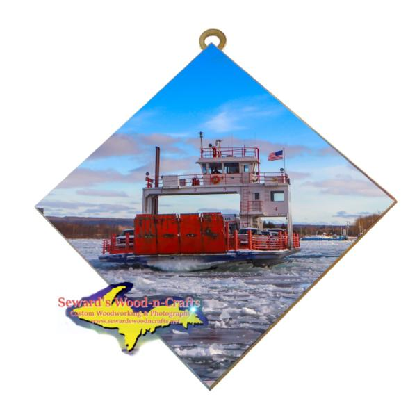 Sugar Island Ferry Winter Photo Tile Sault Michigan Gifts & Collectibles