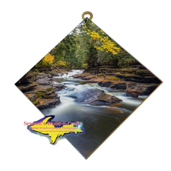Presque Isle Waterfalls Michigan's Upper Peninsula Art Tiles Affordable Michigan Made Home Office Decor