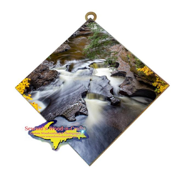 Presque Isle Waterfalls Michigan's Upper Peninsula Art On Tiles Home Or Office Decor
