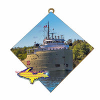 Great Lakes Freighter Gifts Alpena Wall Art Photo Tile For Boat Lovers