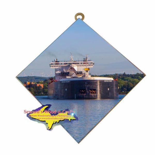 Great Lakes Freighter Gifts American Integrity Wall Art Photo Tile For Boat Lovers